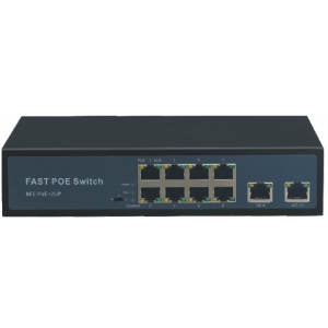 Switch 8 cổng PoE, 2 cổng uplink, công suất 150Wat